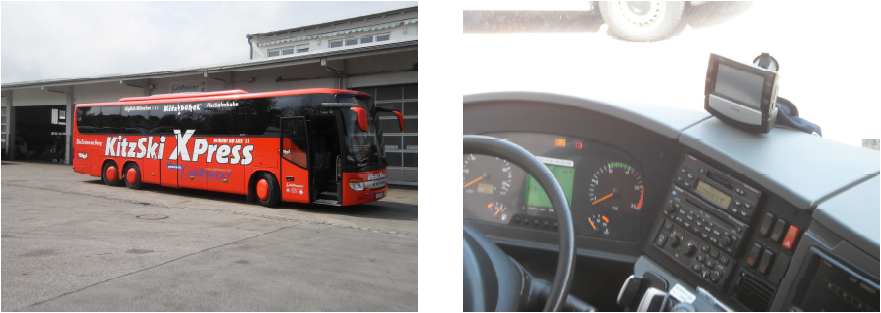 Ein farbenfroher Reisebus mit dem Telematiksystem FB 6000 an Bord